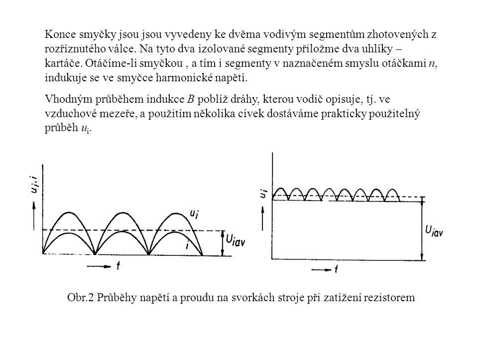 Konce smyčky jsou jsou vyvedeny ke dvěma vodivým segmentům zhotovených z rozříznutého válce. Na tyto dva izolované segmenty přiložme dva uhlíky – kartáče. Otáčíme-li smyčkou , a tím i segmenty v naznačeném smyslu otáčkami n, indukuje se ve smyčce harmonické napětí.