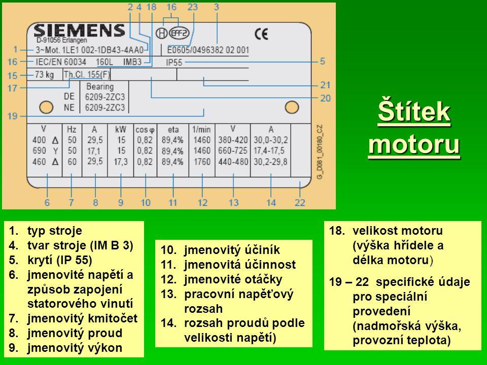 Štítek motoru 1. typ stroje 4. tvar stroje (IM B 3) 5. krytí (IP 55)