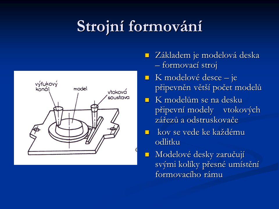 Strojní formování Základem je modelová deska – formovací stroj