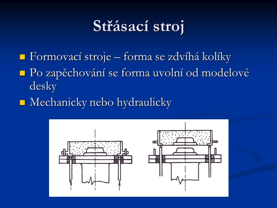 Střásací stroj Formovací stroje – forma se zdvíhá kolíky