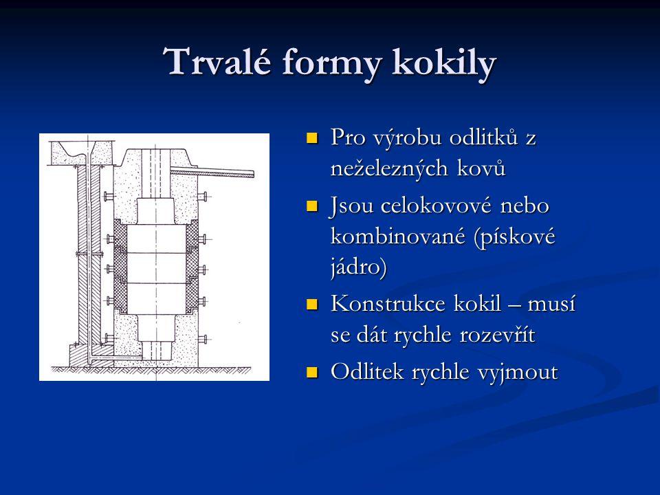 Trvalé formy kokily Pro výrobu odlitků z neželezných kovů