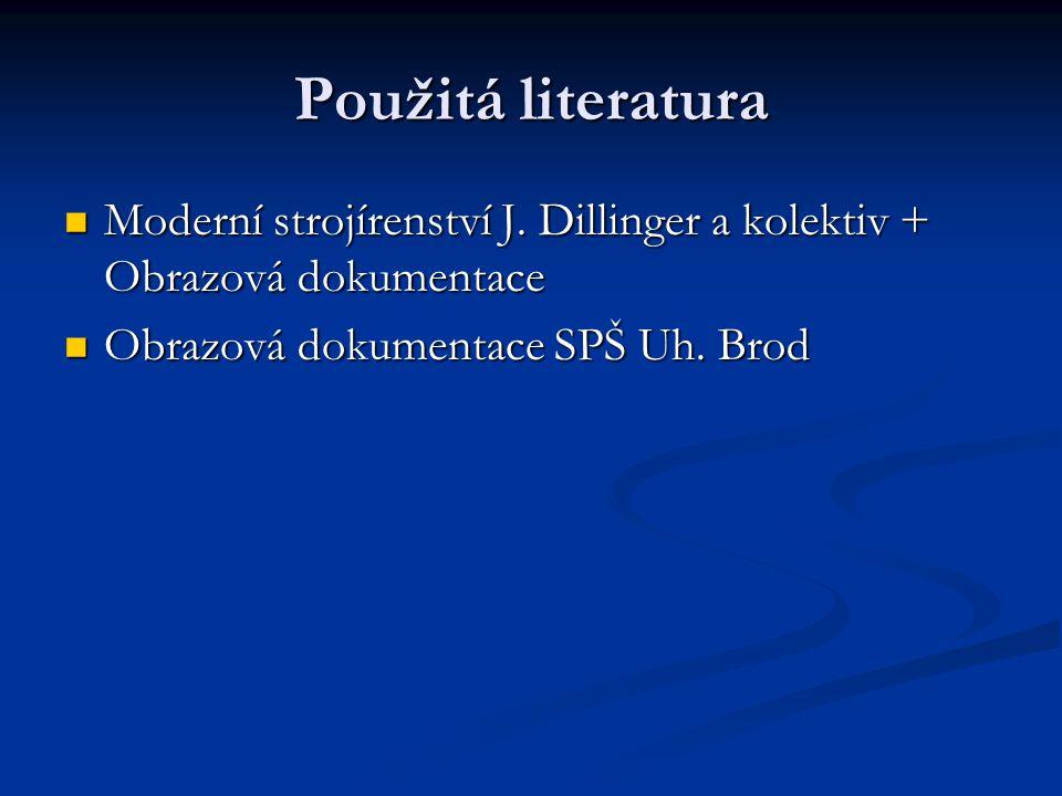 Použitá literatura Moderní strojírenství J. Dillinger a kolektiv + Obrazová dokumentace.