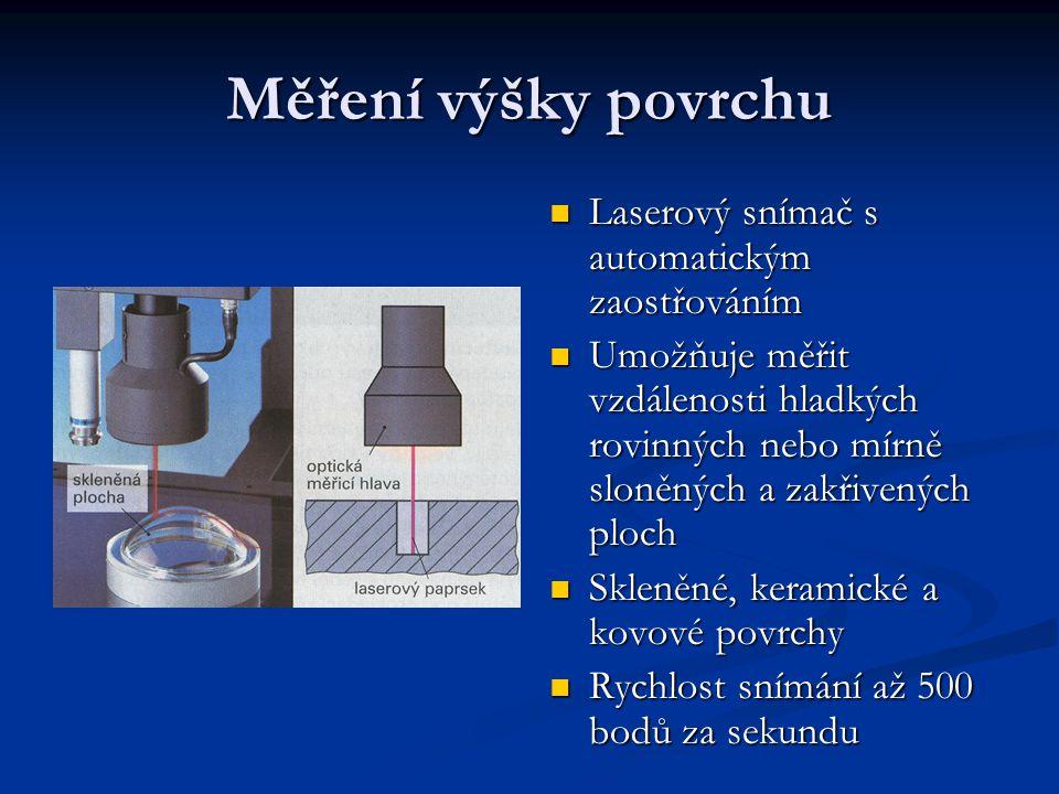 Měření výšky povrchu Laserový snímač s automatickým zaostřováním