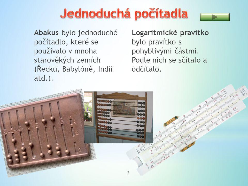 Jednoduchá počítadla Abakus bylo jednoduché počítadlo, které se používalo v mnoha starověkých zemích (Řecku, Babylóně, Indii atd.).