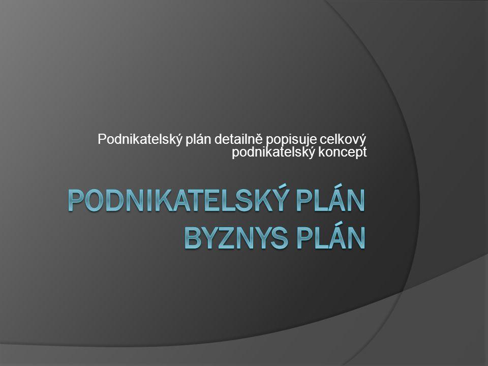 Podnikatelský plán Byznys plán