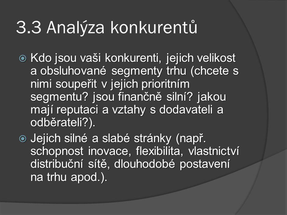 3.3 Analýza konkurentů