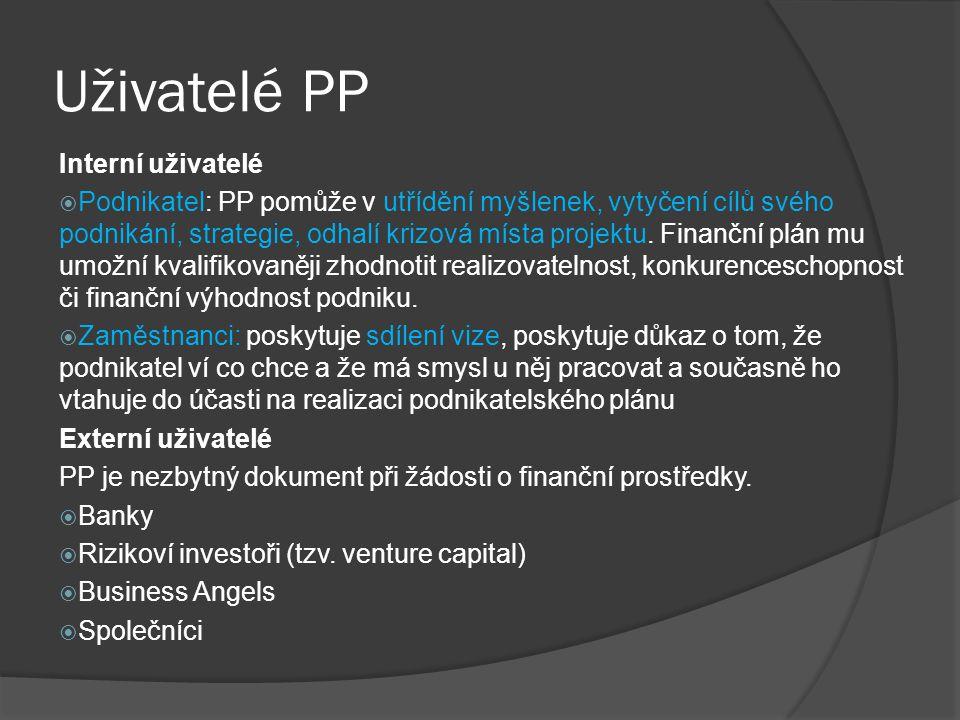 Uživatelé PP Interní uživatelé
