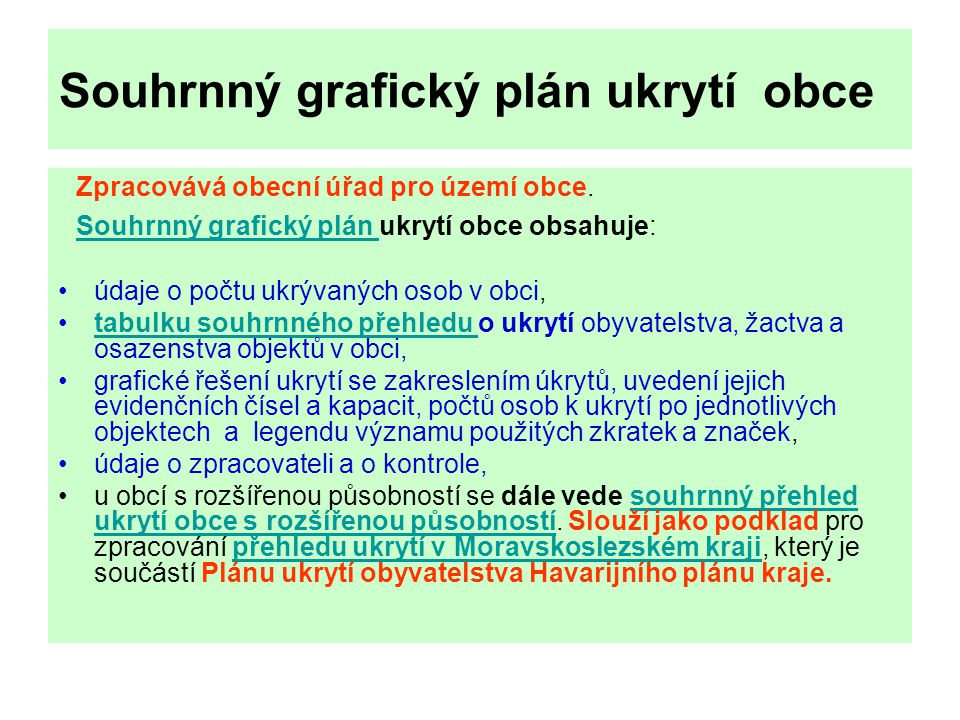 Souhrnný grafický plán ukrytí obce