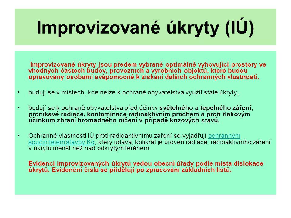 Improvizované úkryty (IÚ)