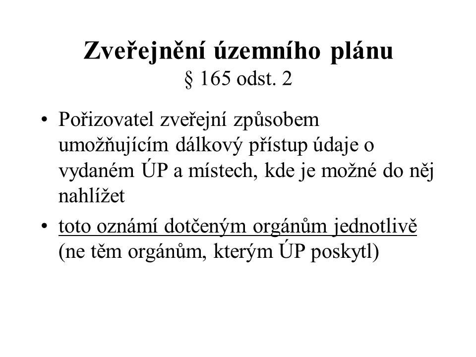 Zveřejnění územního plánu § 165 odst. 2