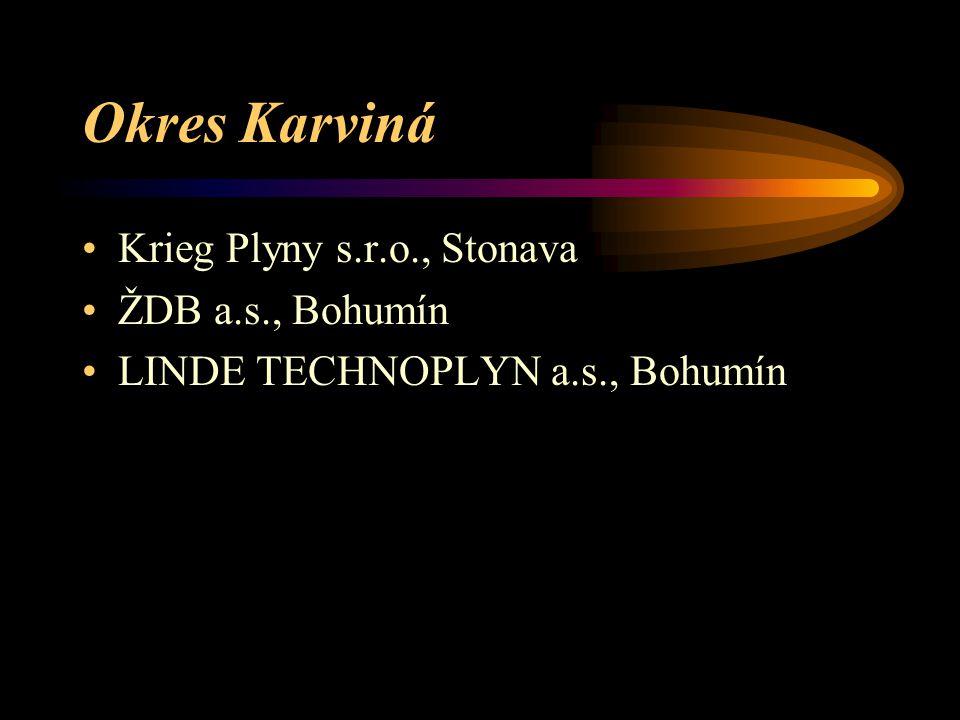 Okres Karviná Krieg Plyny s.r.o., Stonava ŽDB a.s., Bohumín