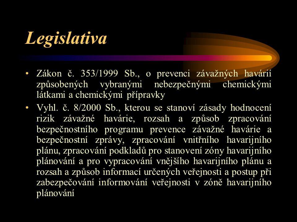 Legislativa Zákon č. 353/1999 Sb., o prevenci závažných havárií způsobených vybranými nebezpečnými chemickými látkami a chemickými přípravky.