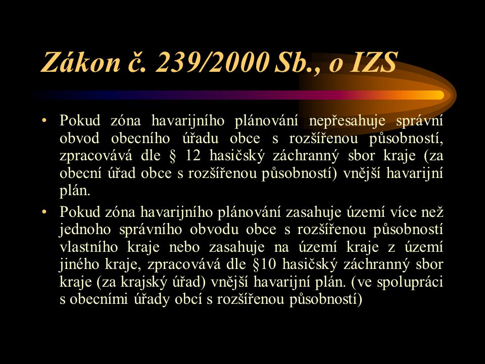 Zákon č. 239/2000 Sb., o IZS