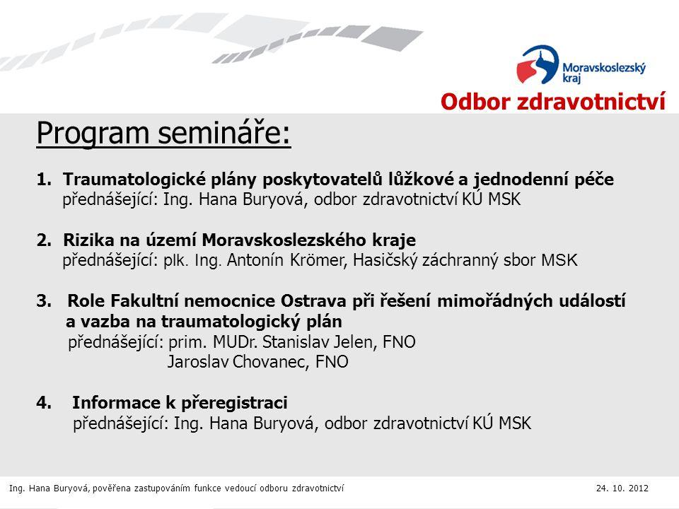 Program semináře: 1. Traumatologické plány poskytovatelů lůžkové a jednodenní péče. přednášející: Ing. Hana Buryová, odbor zdravotnictví KÚ MSK.