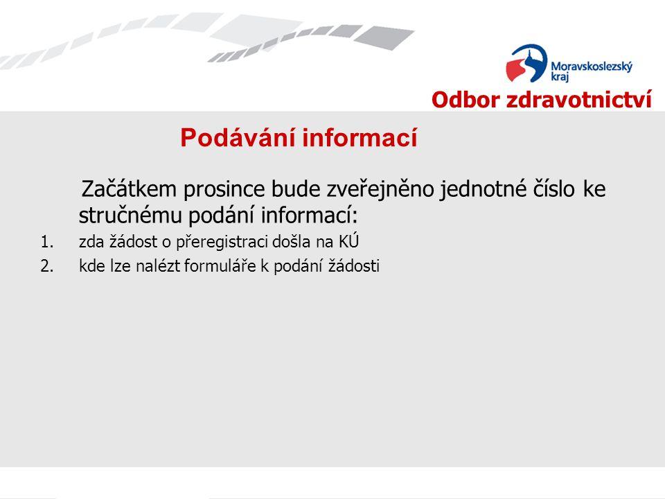 Podávání informací Začátkem prosince bude zveřejněno jednotné číslo ke stručnému podání informací: zda žádost o přeregistraci došla na KÚ.