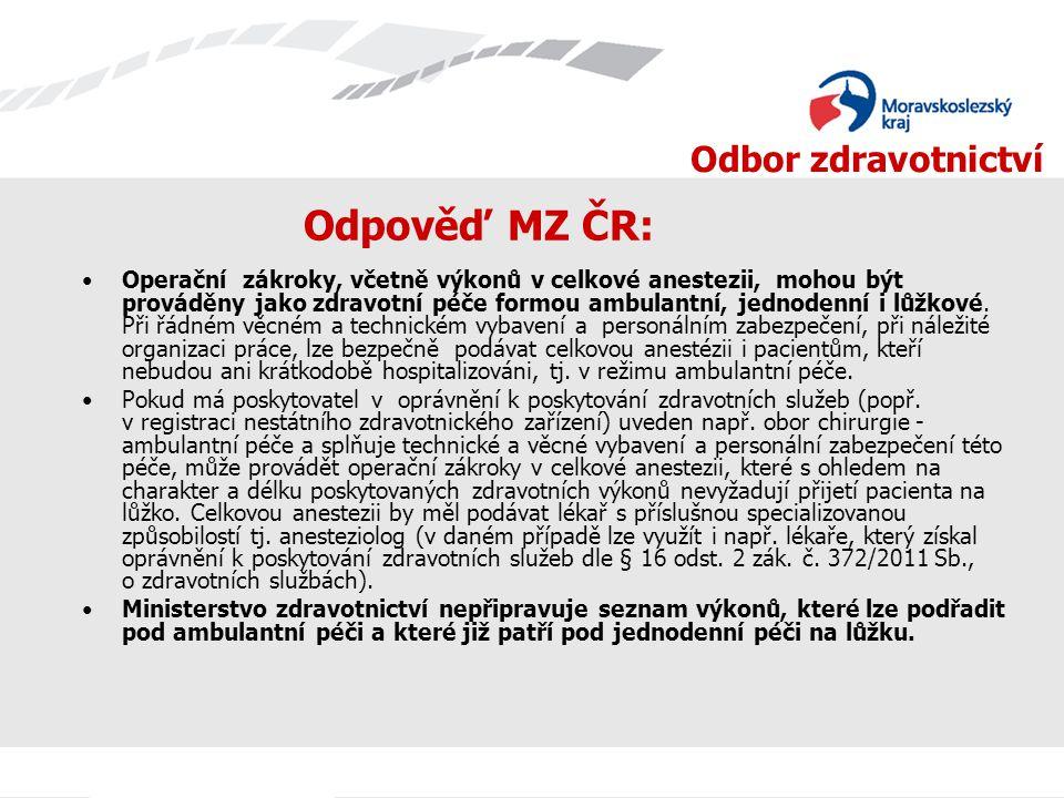 Odpověď MZ ČR: