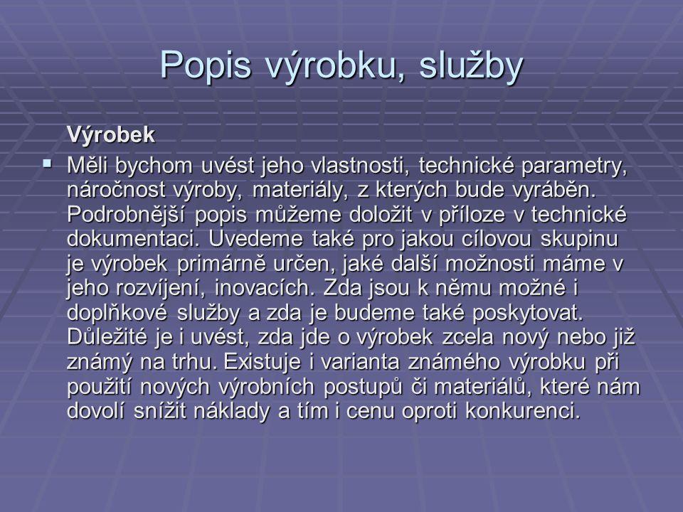 Popis výrobku, služby Výrobek