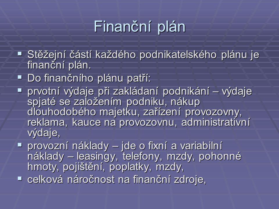 Finanční plán Stěžejní částí každého podnikatelského plánu je finanční plán. Do finančního plánu patří: