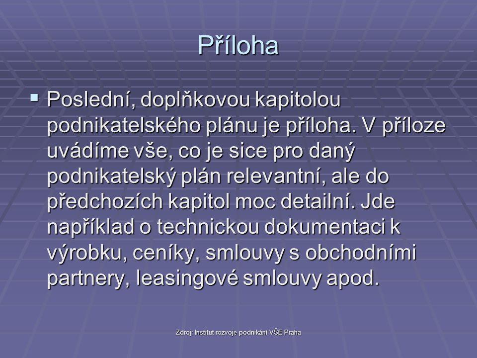 Zdroj: Institut rozvoje podnikání VŠE Praha