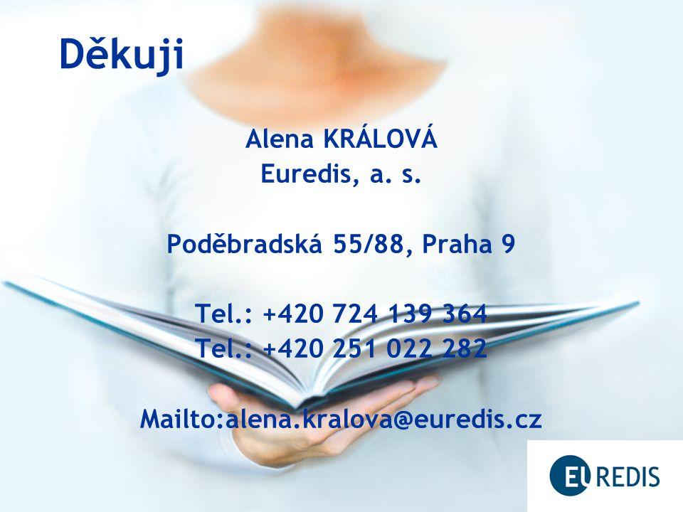 Děkuji Alena KRÁLOVÁ Euredis, a. s. Poděbradská 55/88, Praha 9