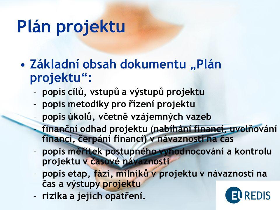 """Plán projektu Základní obsah dokumentu """"Plán projektu :"""