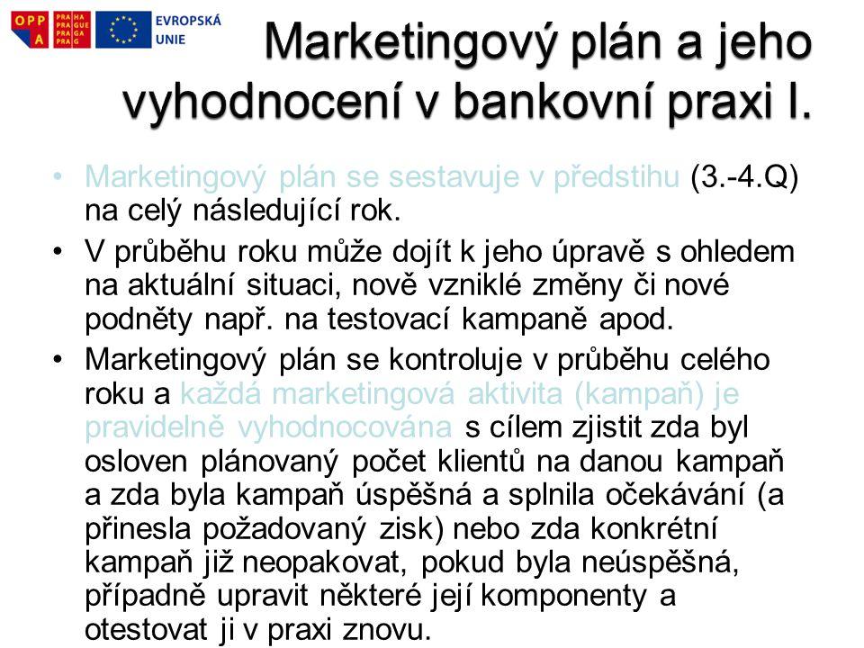Marketingový plán a jeho vyhodnocení v bankovní praxi I.