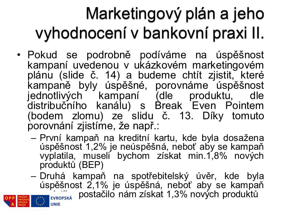 Marketingový plán a jeho vyhodnocení v bankovní praxi II.