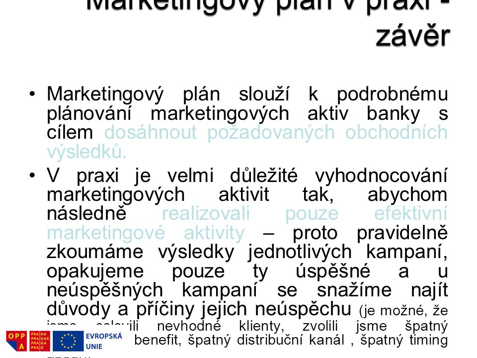 Marketingový plán v praxi - závěr