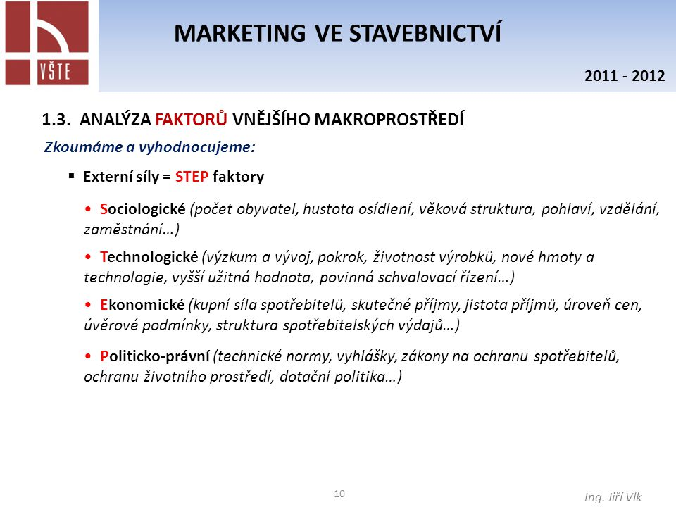 MARKETING VE STAVEBNICTVÍ