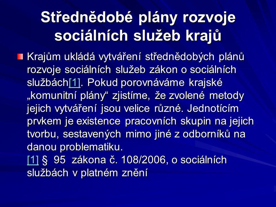Střednědobé plány rozvoje sociálních služeb krajů