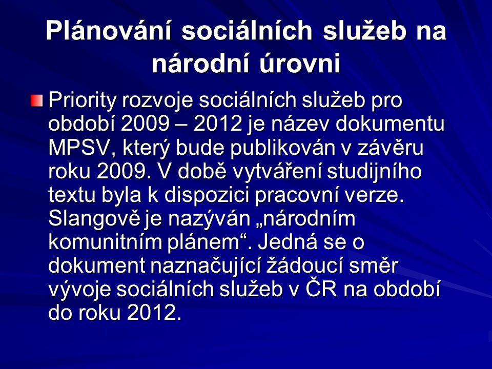 Plánování sociálních služeb na národní úrovni