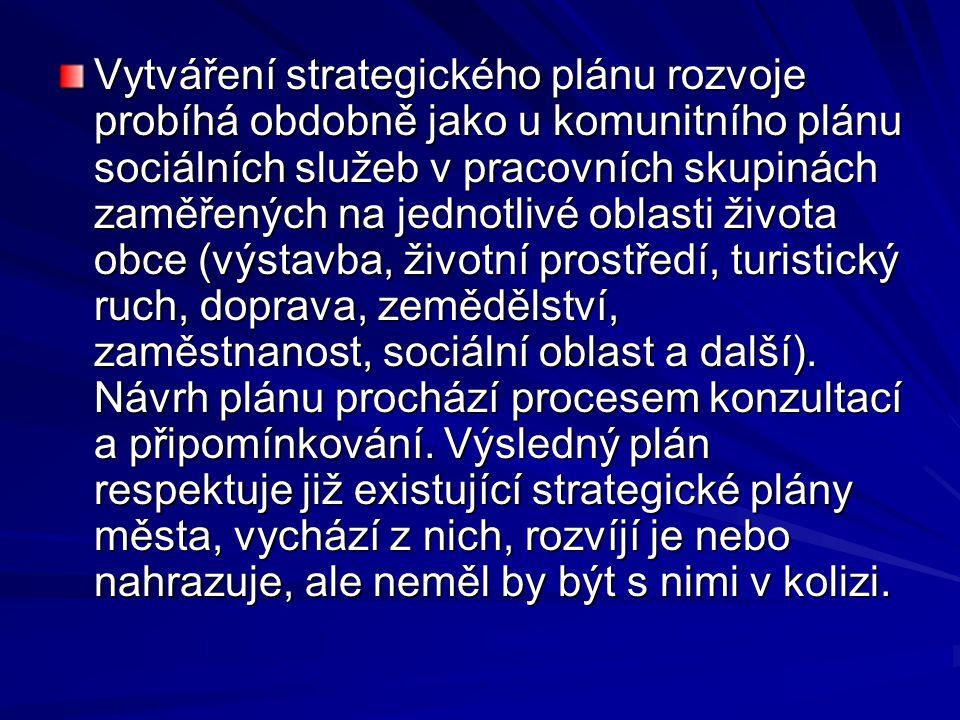 Vytváření strategického plánu rozvoje probíhá obdobně jako u komunitního plánu sociálních služeb v pracovních skupinách zaměřených na jednotlivé oblasti života obce (výstavba, životní prostředí, turistický ruch, doprava, zemědělství, zaměstnanost, sociální oblast a další).