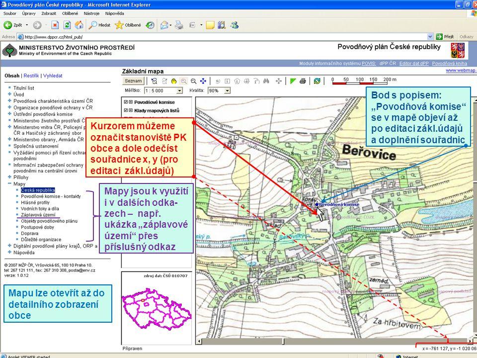 Mapu lze otevřít až do detailního zobrazení obce