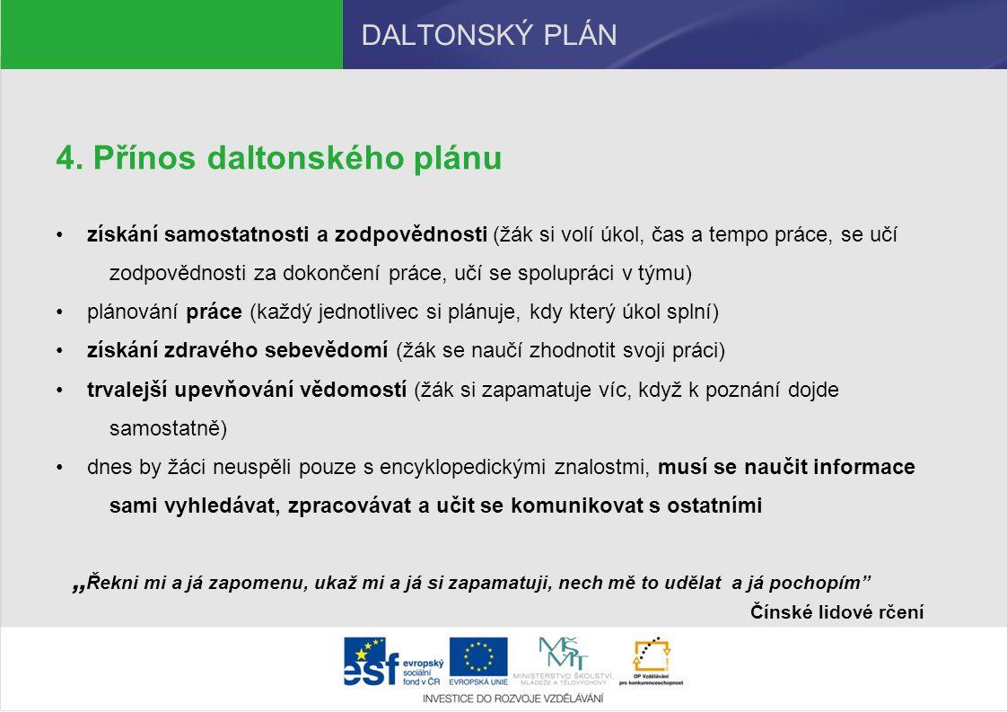 Přínos daltonského plánu
