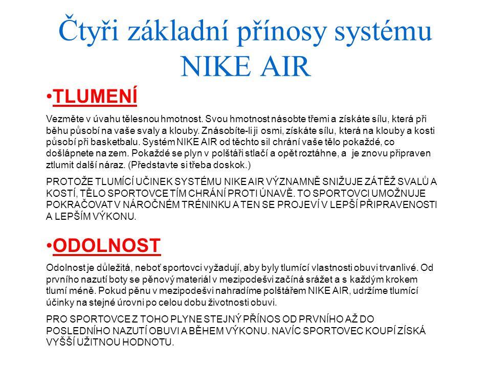 Čtyři základní přínosy systému NIKE AIR