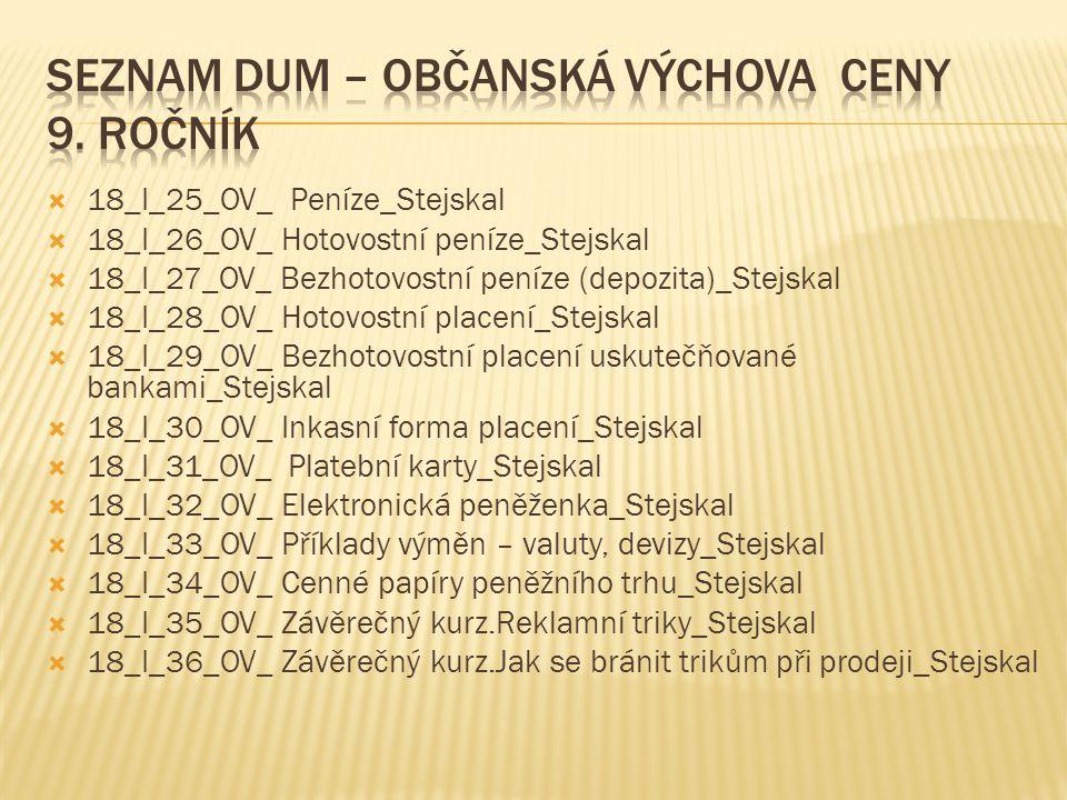 Seznam DUM – OBČANSKÁ VÝCHOVA Ceny 9. ročník