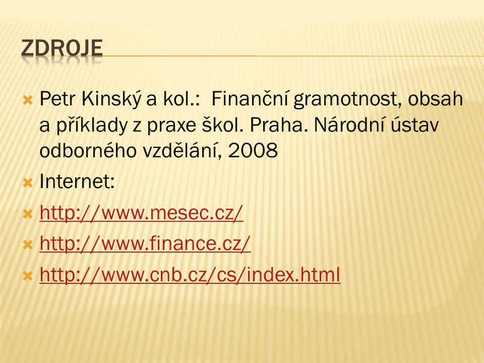 Zdroje Petr Kinský a kol.: Finanční gramotnost, obsah a příklady z praxe škol. Praha. Národní ústav odborného vzdělání, 2008.