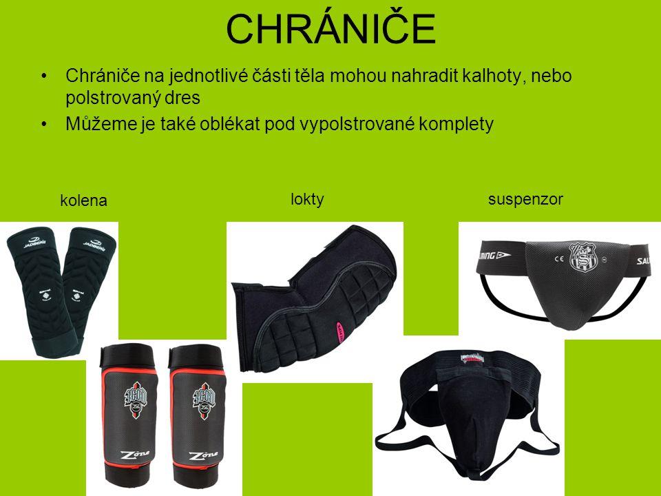 CHRÁNIČE Chrániče na jednotlivé části těla mohou nahradit kalhoty, nebo polstrovaný dres. Můžeme je také oblékat pod vypolstrované komplety.