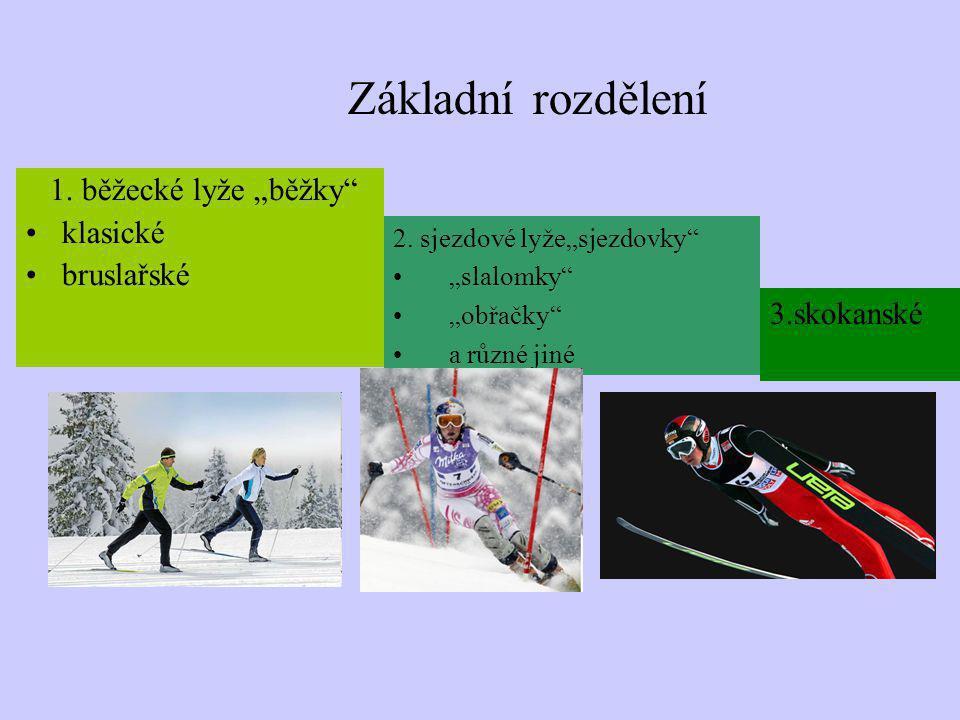 """Základní rozdělení 1. běžecké lyže """"běžky klasické bruslařské"""