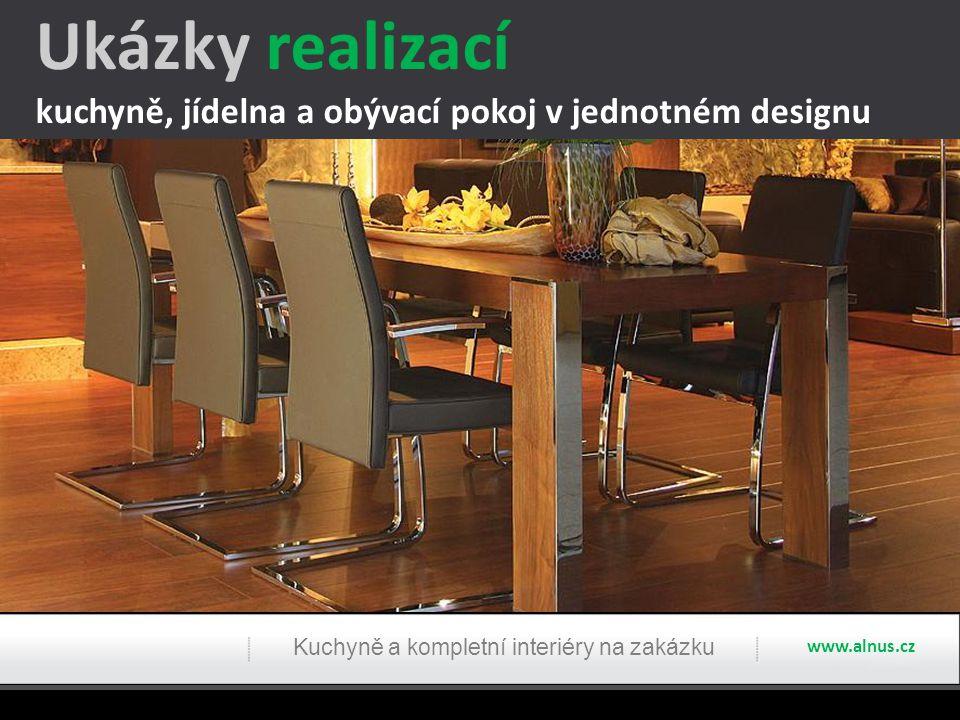 Ukázky realizací kuchyně, jídelna a obývací pokoj v jednotném designu