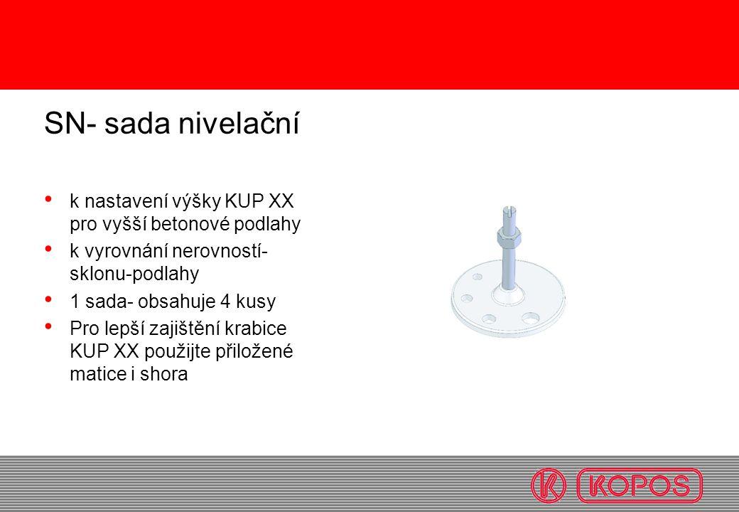 SN- sada nivelační k nastavení výšky KUP XX pro vyšší betonové podlahy