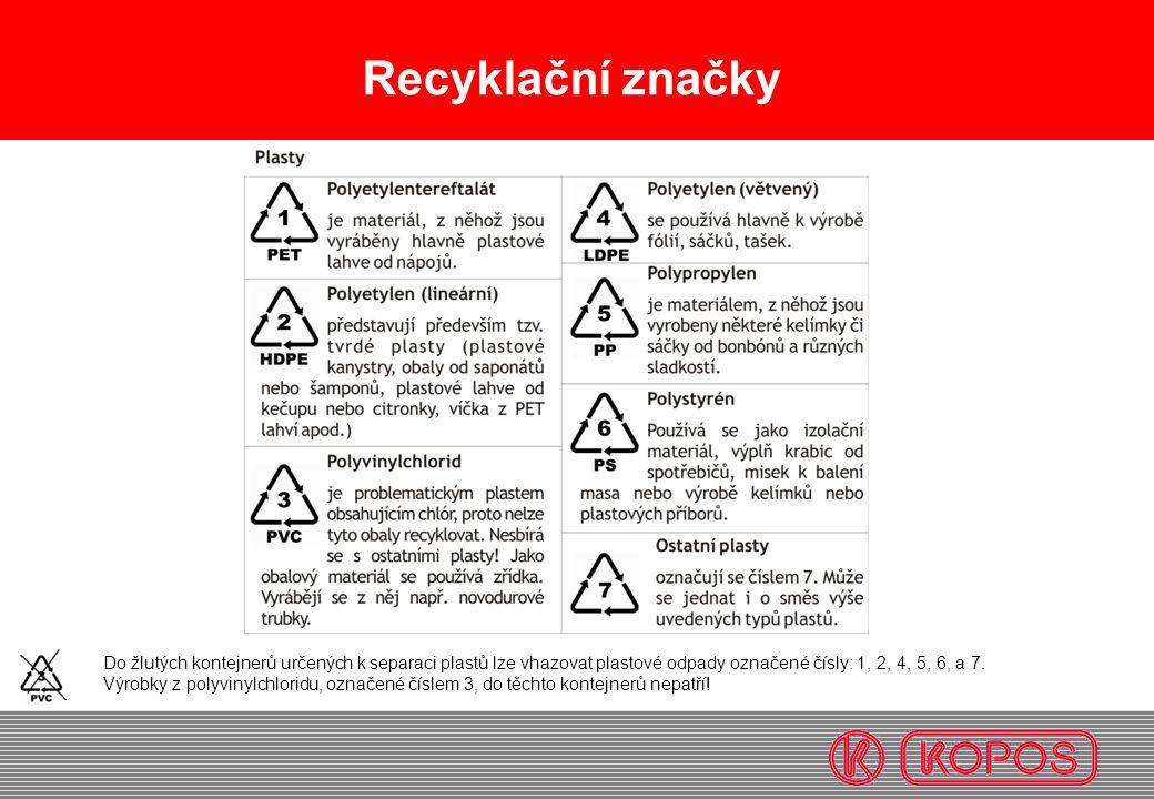 Recyklační značky Do žlutých kontejnerů určených k separaci plastů lze vhazovat plastové odpady označené čísly: 1, 2, 4, 5, 6, a 7.