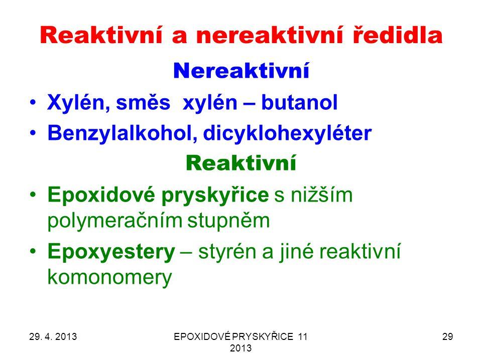 Reaktivní a nereaktivní ředidla