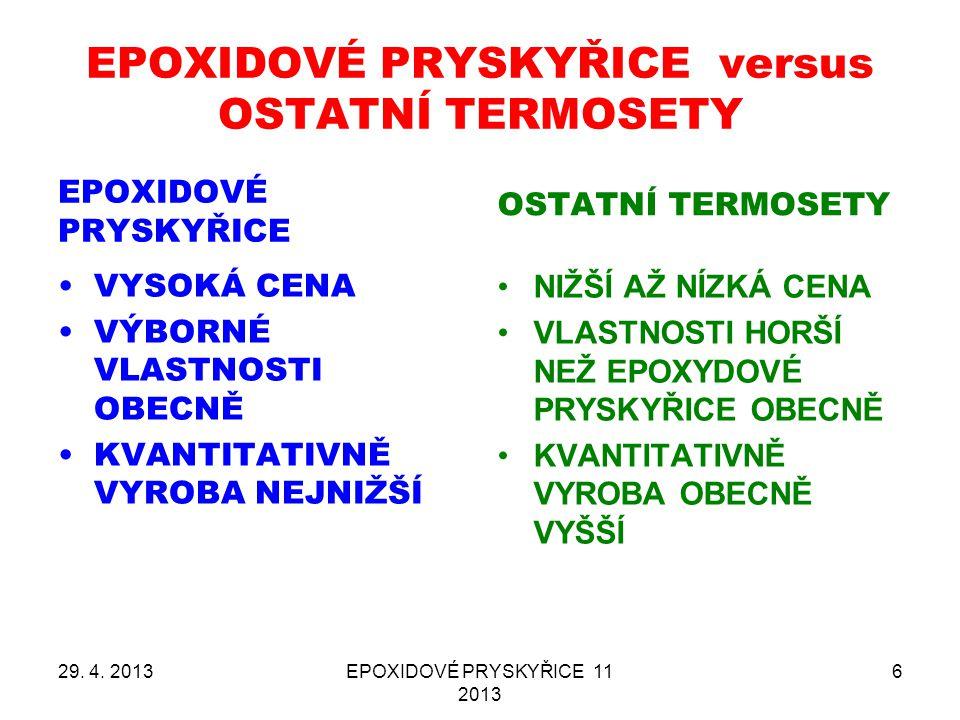 EPOXIDOVÉ PRYSKYŘICE versus OSTATNÍ TERMOSETY