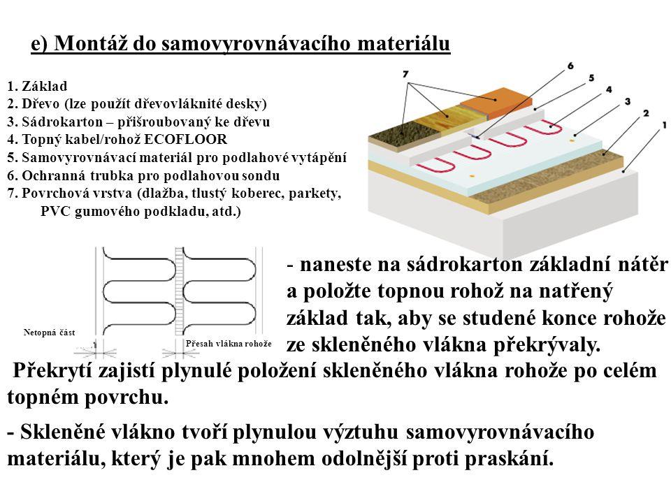 e) Montáž do samovyrovnávacího materiálu