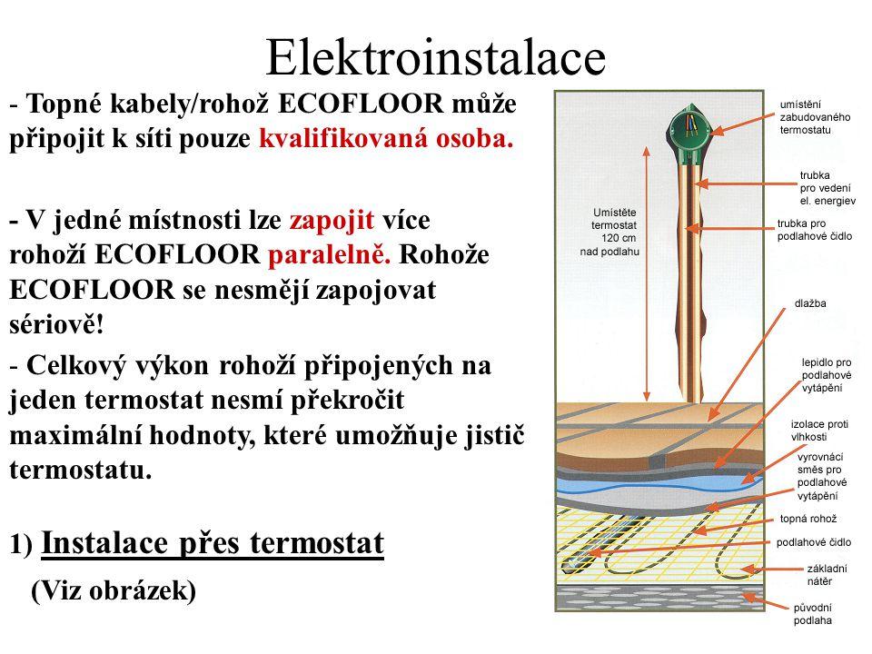 Elektroinstalace Topné kabely/rohož ECOFLOOR může připojit k síti pouze kvalifikovaná osoba.