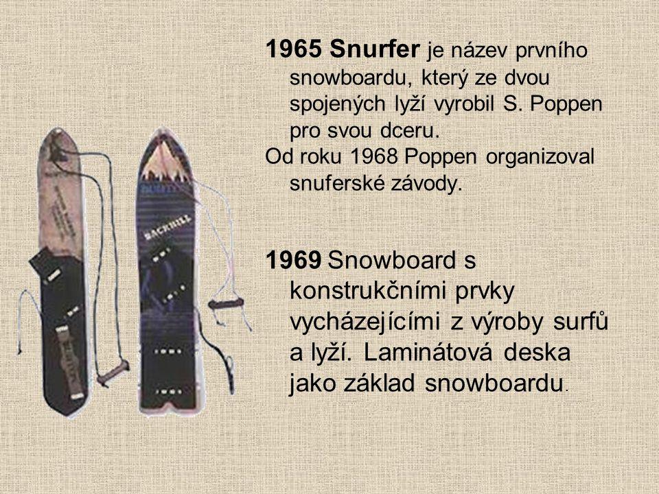 1965 Snurfer je název prvního snowboardu, který ze dvou spojených lyží vyrobil S. Poppen pro svou dceru.