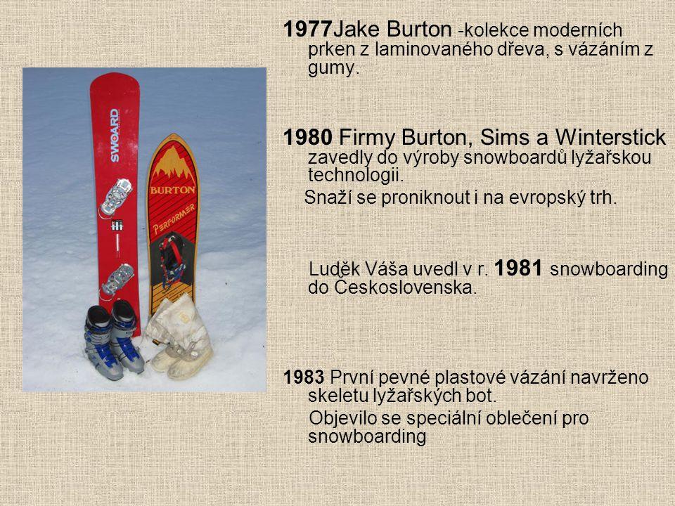 1977Jake Burton -kolekce moderních prken z laminovaného dřeva, s vázáním z gumy.