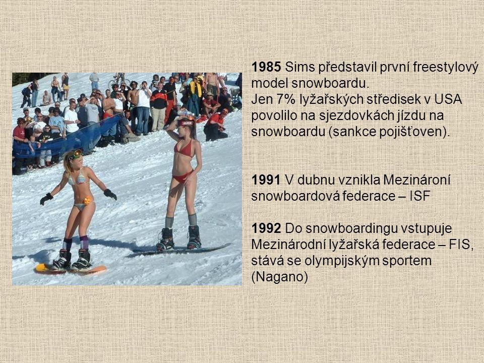 1985 Sims představil první freestylový model snowboardu