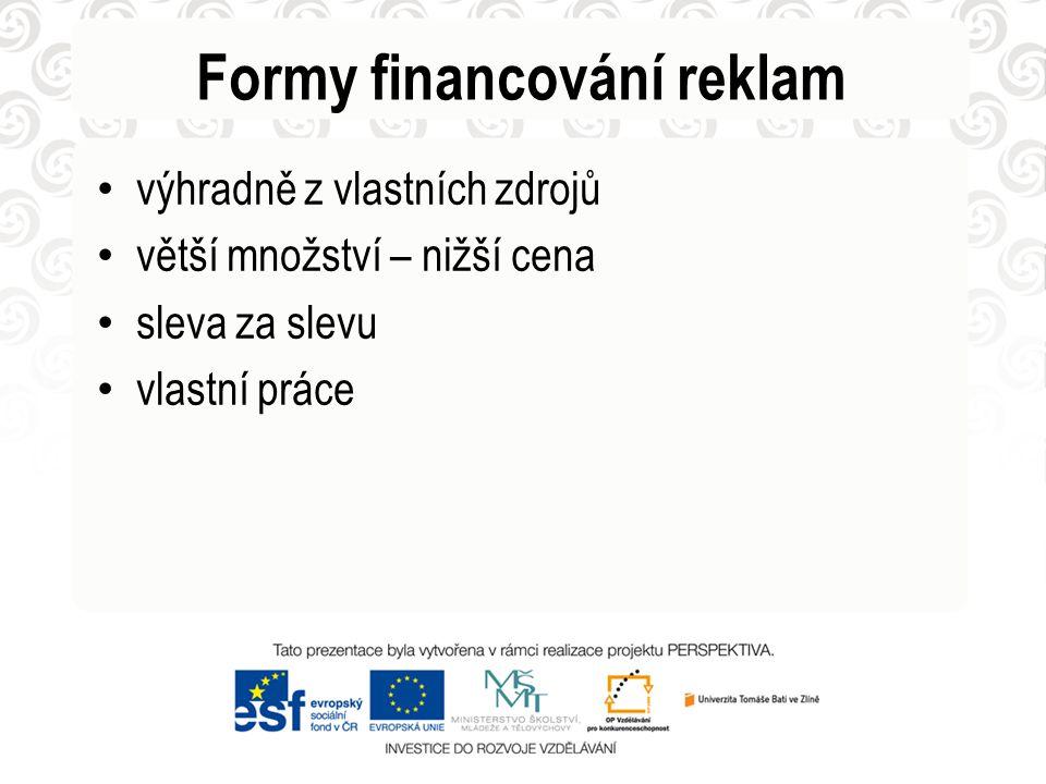 Formy financování reklam